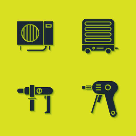 Set Air conditioner, Electric hot glue gun, drill machine and heater icon. Vector