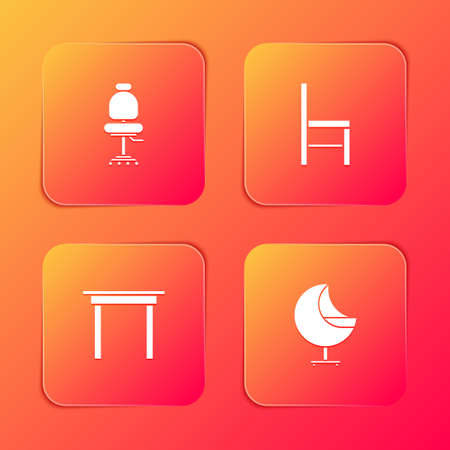 Set Office chair, Chair, Wooden table and Armchair icon. Vector
