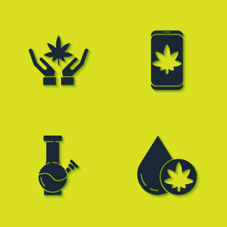 Set Marijuana or cannabis leaf, olive oil, Glass bong for smoking marijuana and Mobile and icon. Vector