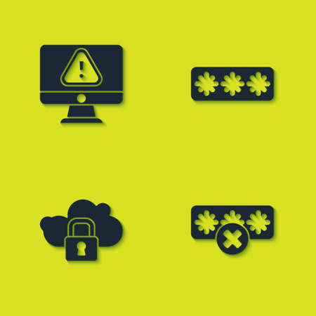 Set Monitor with exclamation mark, Password protection, Cloud computing lock and icon. Vector