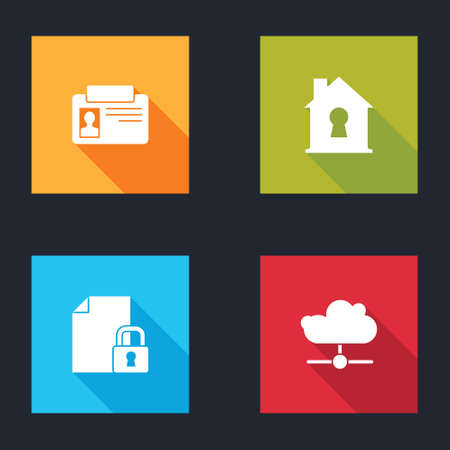 Set Identification badge, House under protection, Document and lock and Network cloud connection icon. Vector 向量圖像