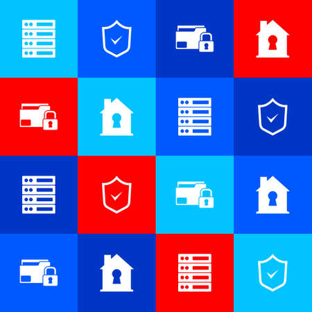 Set Server, Data, Web Hosting, Shield with check mark, Folder and lock and House under protection icon. Vector
