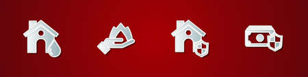 Set House flood, Hand holding a fire, with shield and Money icon. Vector