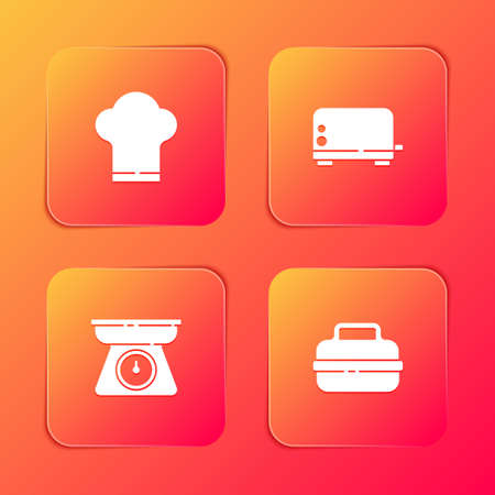 Set Chef hat, Toaster, Scales and Cooking pot icon. Vector 向量圖像