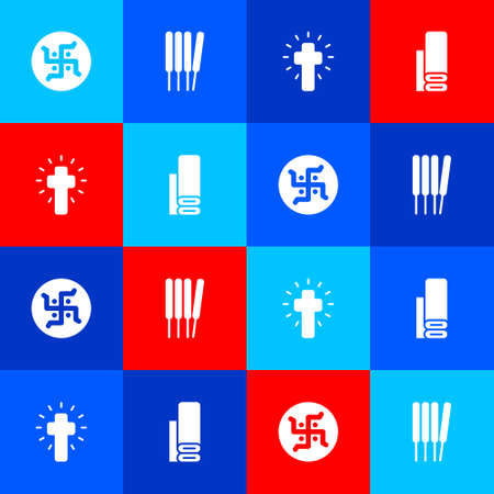 Set Hindu swastika, Aroma sticks, incense, Christian cross and Indian textile fabric icon. Vector 向量圖像