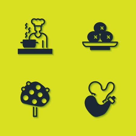 Set Spanish cook, wineskin, Orange tree and Olives on plate icon. Vector 向量圖像