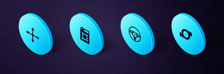 Set Isometric Automotive turbocharger, Steering wheel, Canister for gasoline and Wheel wrench icon. Vector