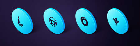 Set Isometric Funnel and oil drop, Car brake disk with caliper, Steering wheel and seat icon. Vector
