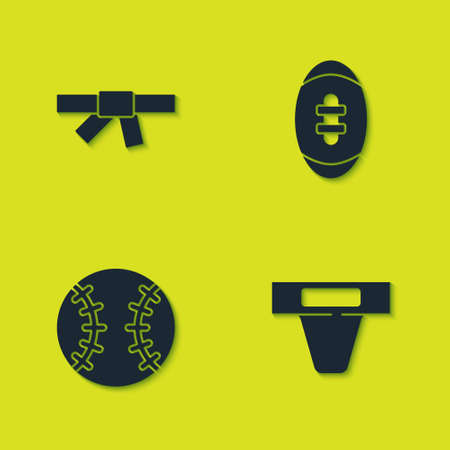 Set Black karate belt, Groin guard, Baseball ball and American Football icon. Vector Ilustração