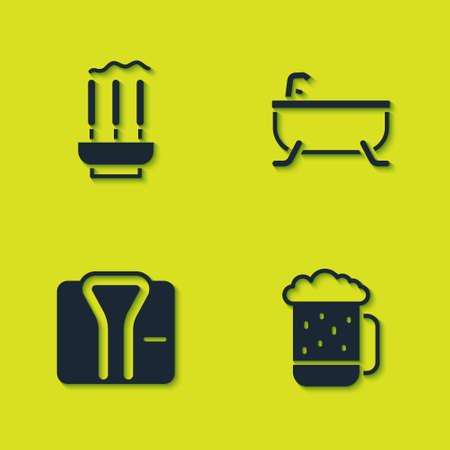 Set Incense sticks, Wooden beer mug, Bathrobe and Bathtub icon. Vector
