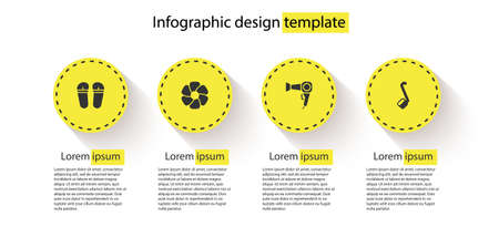 Set Flip flops, Flower, Hair dryer and Sauna ladle. Business infographic template. Vector