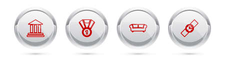 Set line Bank building, Medal, Sofa and Wrist watch. Silver circle button. Vector 向量圖像