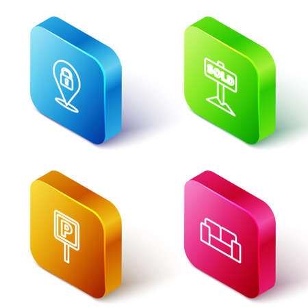 Set Isometric line Location lock, Hanging sign with text Sold, Parking and Sofa icon. Vector 向量圖像