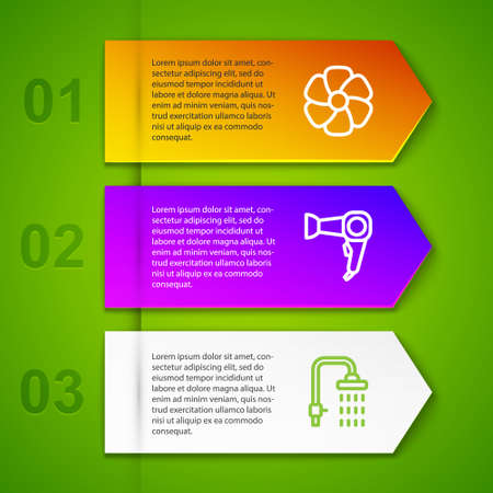 Set line Flower, Hair dryer and Shower. Business infographic template. Vector