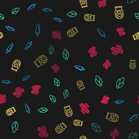 Set line Hot chili pepper pod, Corn, Mexican wrestler and Cactus on seamless pattern. Vector