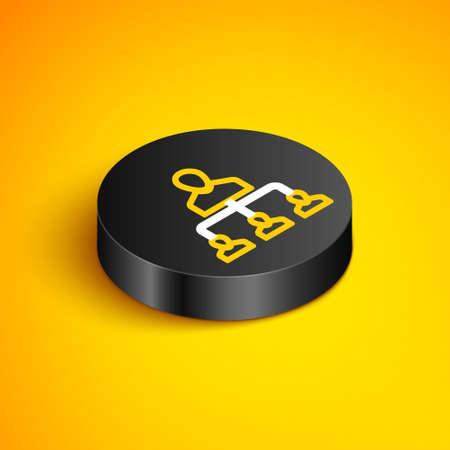 Isometric line Referral marketing icon isolated on yellow background. Network marketing, business partnership, referral program strategy. Black circle button. Vector