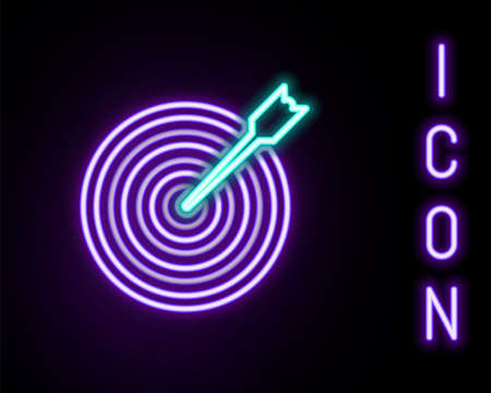 Glowing neon line Target with arrow icon isolated on black background. Dart board sign. Archery board icon. Dartboard sign. Business goal concept. Colorful outline concept. Vector