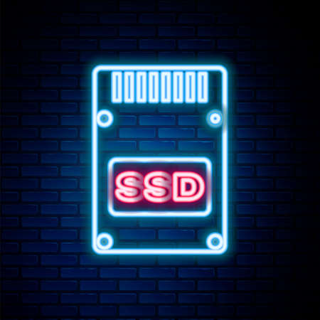 Glowing neon line SSD card icon isolated on brick wall background. Solid state drive sign. Storage disk symbol. Colorful outline concept. Vector 矢量图片
