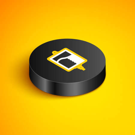 Isometric line IV bag icon isolated on yellow background. Blood bag icon. Donate blood concept. The concept of treatment and therapy, chemotherapy. Black circle button. Vector
