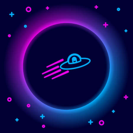 Glowing neon line UFO flying spaceship and alien icon isolated on black background. Flying saucer. Alien space ship. Futuristic unknown flying object. Colorful outline concept. Vector