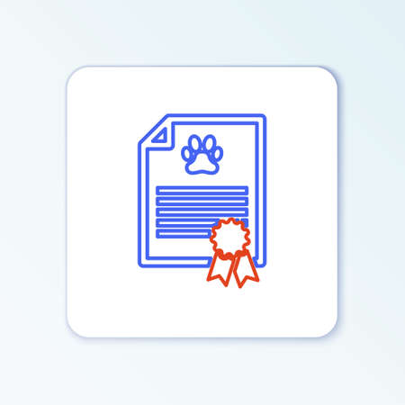 Line Medical certificate for travel with dog or cat icon isolated on white background. Document for pet. Dog or cat paw print. Colorful outline concept. Vector