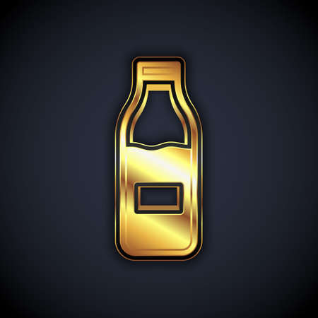 Gold Closed glass bottle with milk icon isolated on black background. Vector