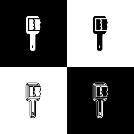 Set Sauna brush icon isolated on black and white background. Wooden brush with coarse bristles for washing in the bath. Anti cellulite massage. Vector
