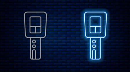 Glowing neon line Car key with remote icon isolated on brick wall background. Car key and alarm system. Vector
