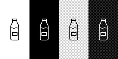 Set line Closed glass bottle with milk icon isolated on black and white,transparent background. Vector