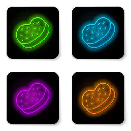 Glowing neon line Bath sponge icon isolated on white background. Sauna sponge. Black square button. Vector
