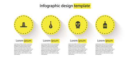 Set Mexican sombrero, guitar, wrestler and Tequila bottle. Business infographic template. Vector Illustration