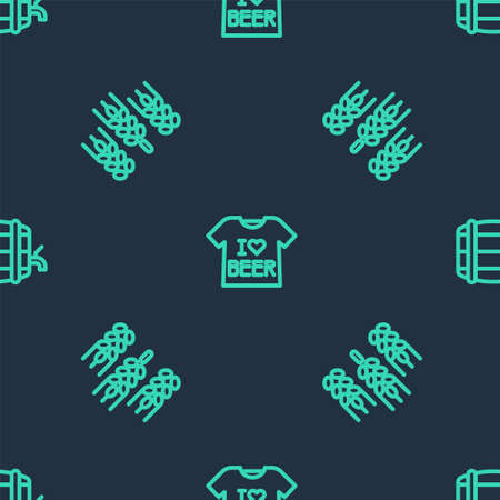 Set line Beer T-shirt, Wheat and Wooden barrel on rack on seamless pattern. Vector
