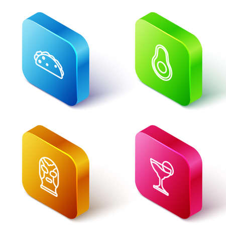 Set Isometric line Taco with tortilla, Avocado fruit, Mexican wrestler and Margarita cocktail icon. Vector Illustration