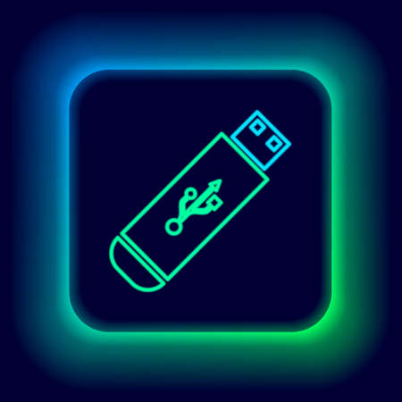 Glowing neon line USB flash drive icon isolated on black background. Colorful outline concept. Vector