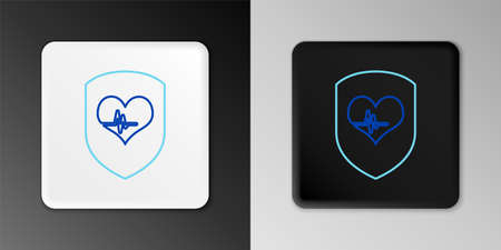 Line Shield and heart rate icon isolated on grey background. Health protection concept. Health care. Colorful outline concept. Vector  イラスト・ベクター素材