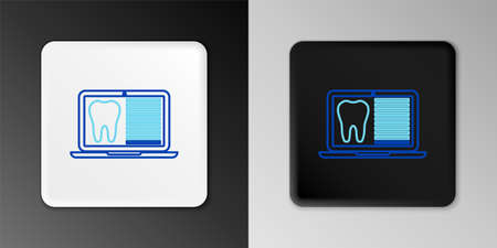 Line Laptop with dental card or patient medical records icon isolated on grey background. Dental insurance. Dental clinic report. Colorful outline concept. Vector