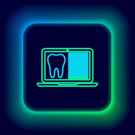 Glowing neon line Laptop with dental card or patient medical records icon isolated on black background. Dental insurance. Dental clinic report. Colorful outline concept. Vector