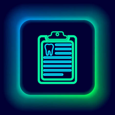 Glowing neon line Clipboard with dental card or patient medical records icon isolated on black background. Dental insurance. Dental clinic report. Colorful outline concept. Vector