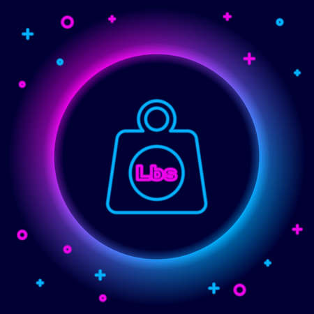 Glowing neon line Weight pounds icon isolated on black background. Pounds weight block for weight lifting and scale. Mass symbol. Colorful outline concept. Vector