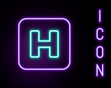 Glowing neon line Hospital sign icon isolated on black background. Colorful outline concept. Vector