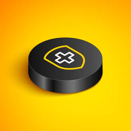 Isometric line Medical shield with cross icon isolated on yellow background. Protection, safety, password security. Black circle button. Vector