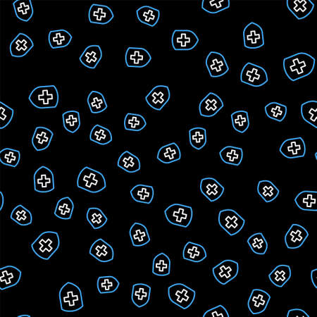 Line Medical shield with cross icon isolated seamless pattern on black background. Protection, safety, password security. Vector
