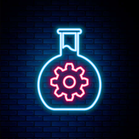Glowing neon line Bioengineering icon isolated on brick wall background. Element of genetics and bioengineering icon. Biology, molecule, chemical icon. Colorful outline concept. Vector