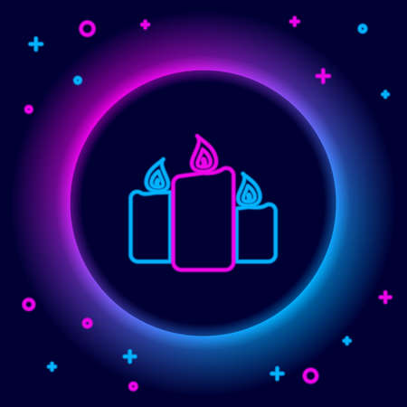 Glowing neon line Burning candles icon isolated on black background. Old fashioned lit candles. Cylindrical aromatic candle sticks with burning flames. Colorful outline concept. Vector