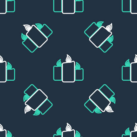 Line Burning candles icon isolated seamless pattern on black background. Old fashioned lit candles. Cylindrical aromatic candle sticks with burning flames. Vector