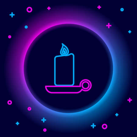 Glowing neon line Burning candle in candlestick icon isolated on black background. Old fashioned lit candle. Cylindrical candle stick with burning flame. Colorful outline concept. Vector