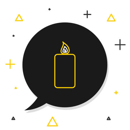 Line Burning candle icon isolated on white background. Old fashioned lit candle. Cylindrical aromatic candle stick with burning flame. Colorful outline concept. Vector