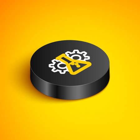 Isometric line Bioengineering icon isolated on yellow background. Element of genetics and bioengineering icon. Biology, molecule, chemical icon. Black circle button. Vector