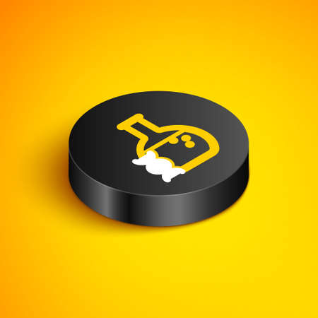 Isometric line DNA research, search icon isolated on yellow background. Genetic engineering, genetics testing, cloning, paternity testing. Black circle button. Vector