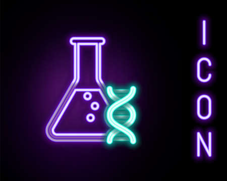 Glowing neon line DNA research, search icon isolated on black background. Genetic engineering, genetics testing, cloning, paternity testing. Colorful outline concept. Vector